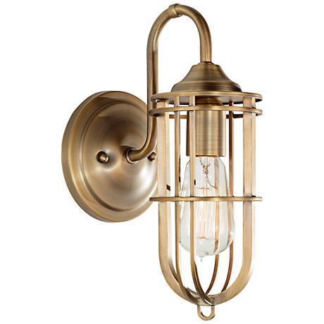 """Feiss Urban Renewal 12 1/4"""" High Dark Antique Brass Sconce"""