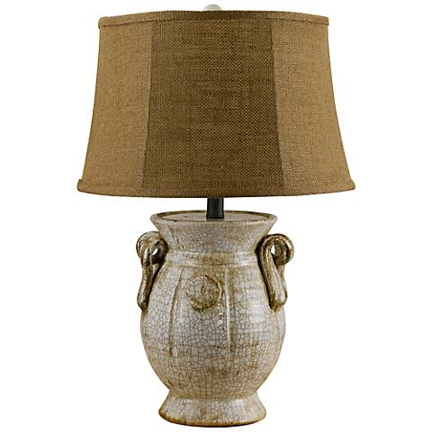 St. Tropez Crackled Ivory And Burlap Jug Shape Table Lamp