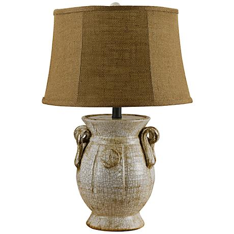 St. Tropez Crackled Ivory And Burlap Jug Shape Table Lamp