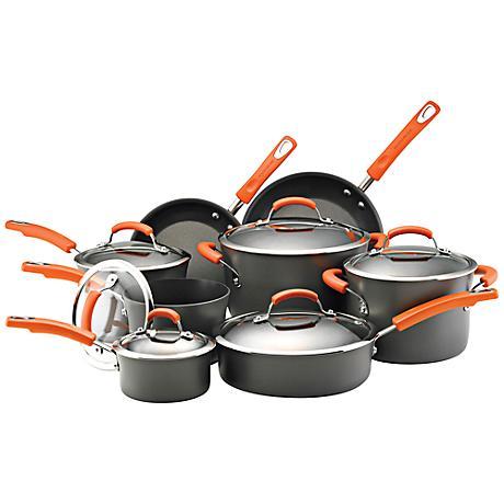 Rachael Ray Orange 14-Piece Hard-Anodized Cookware Set
