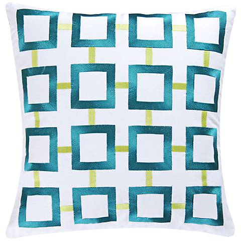 "Aqua Squares 18"" Square Throw Pillow"
