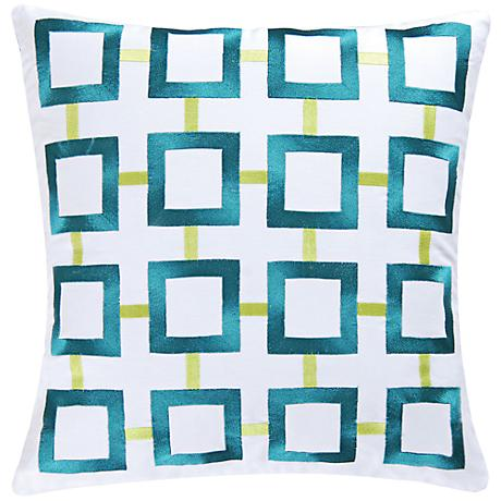 """Aqua Squares 18"""" Square Throw Pillow"""