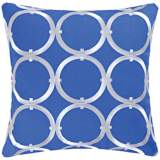 "Circle on Blue 18"" Square Cotton Throw Pillow"