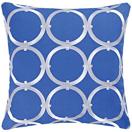 "Circle on Blue 18"" Square Cotton Throw Pillow"