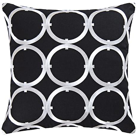 """Circle on Black 18"""" Square Cotton Throw Pillow"""