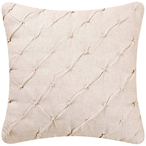 "Cream Diamond Tuck 18"" Square Down Throw Pillow"
