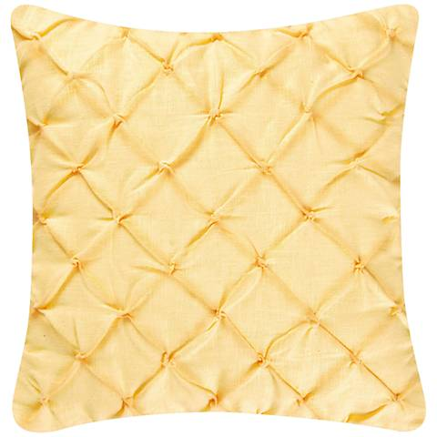 "Yellow Diamond Tuck 18"" Square Down Throw Pillow"