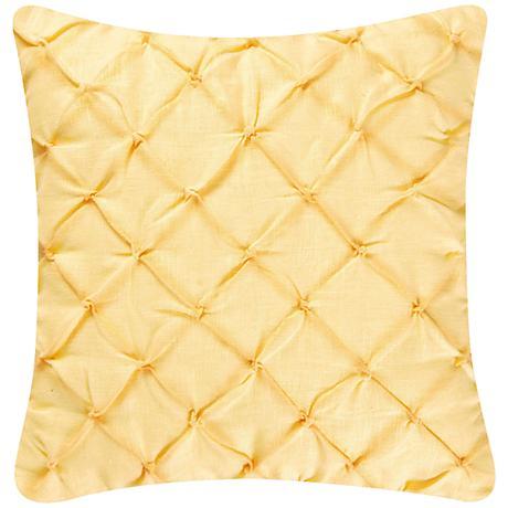 """Yellow Diamond Tuck 18"""" Square Down Throw Pillow"""