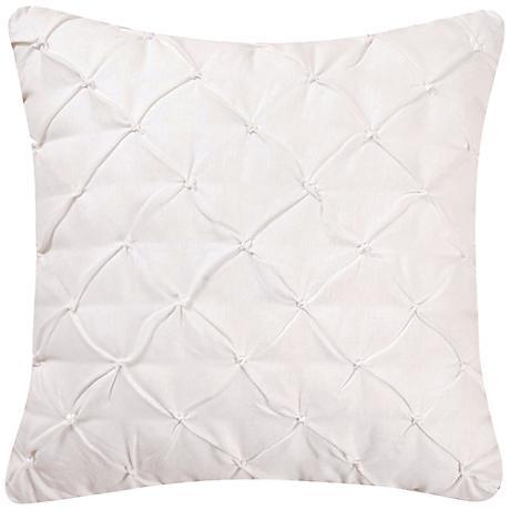 """White Diamond Tuck 18"""" Square Down Throw Pillow"""