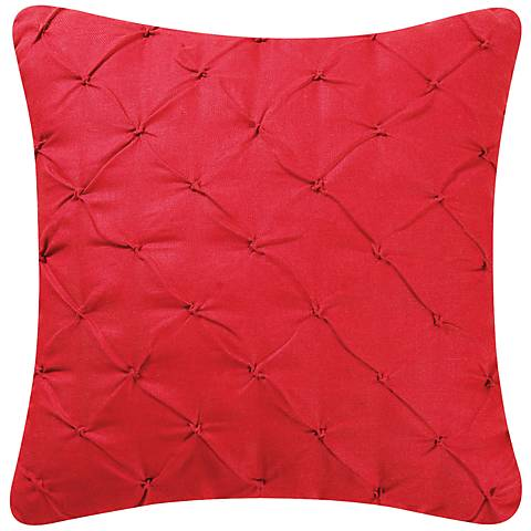 "Red Diamond Tuck 18"" Square Down Throw Pillow"