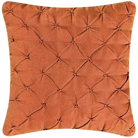 """Orange Diamond Tuck 18"""" Square Down Throw Pillow"""