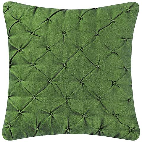 "Dark Moss Diamond Tuck 18"" Square Down Throw Pillow"