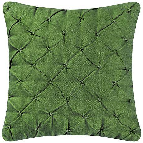 """Dark Moss Diamond Tuck 18"""" Square Down Throw Pillow"""