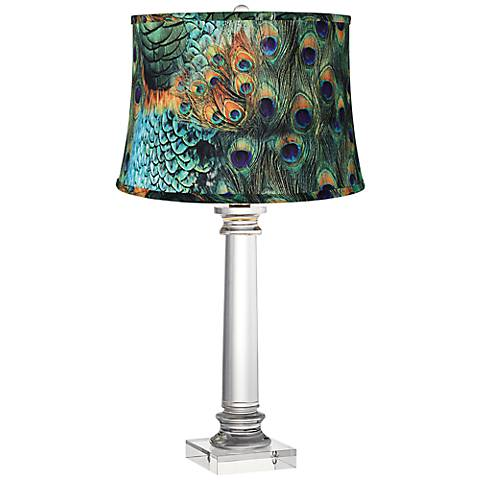 Peacock Print Modern Crystal Column Table Lamp