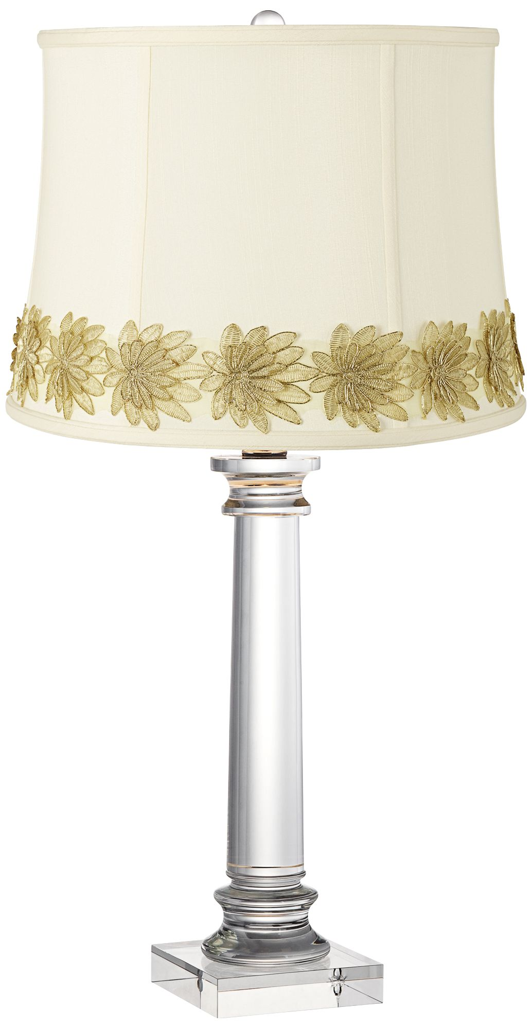 Great Classic Creme Crystal Column Table Lamp With Flower