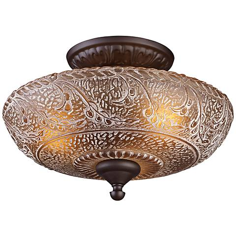 "Norwich Collection 14"" Wide Oiled Bronze Ceiling Light"