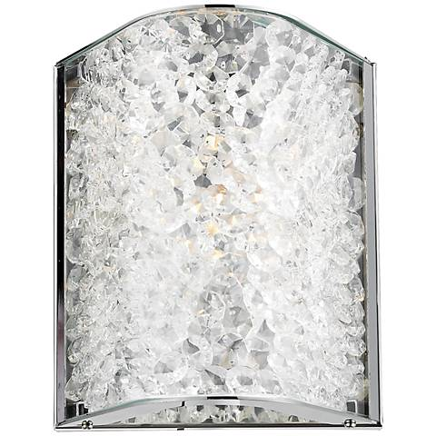 "Encased Crystals 6"" High Polished Chrome Sconce"