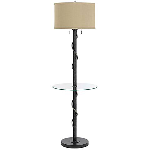 Gitano Dark Iron Floor Lamp With End Table