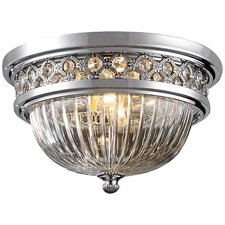 """Crystallure 13"""" Wide Polished Chrome Ceiling Light"""