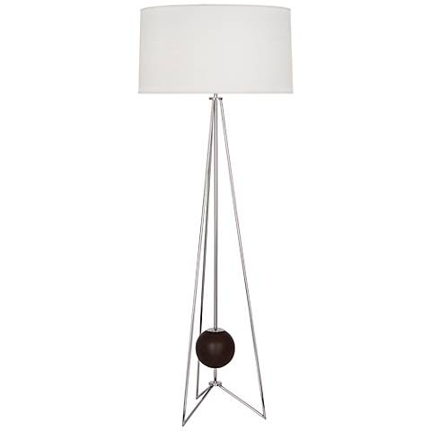 Jonathan Adler Ohai Walnut and Polished Nickel Floor Lamp