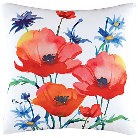 "Poppies 18"" Square Floral Cotton Throw Pillow"