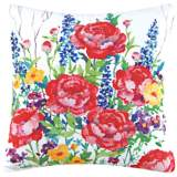 "Peony Garden 18"" Square Floral Cotton Throw Pillow"