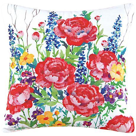 "Peony Garden 18"" Square Floral Cotton Throw Pillow"