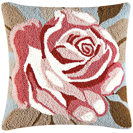 """Rose 18"""" Square Floral Throw Pillow"""