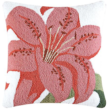 """Tiger Lily 18"""" Square Floral Throw Pillow"""