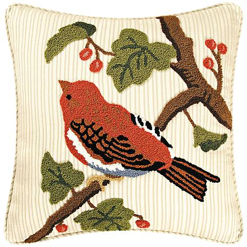 "Finch in Tree 18"" Square Cotton Throw Pillow"