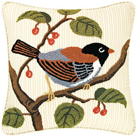 """Junco in Tree 18"""" Square Cotton Throw Pillow"""
