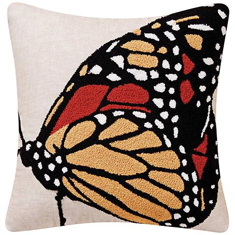 """Monarch Yellow 18"""" Square Throw Pillow"""