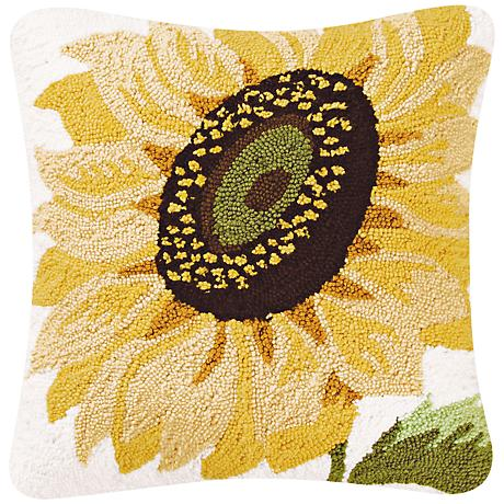 """Sunflower 18"""" Square Floral Throw Pillow"""