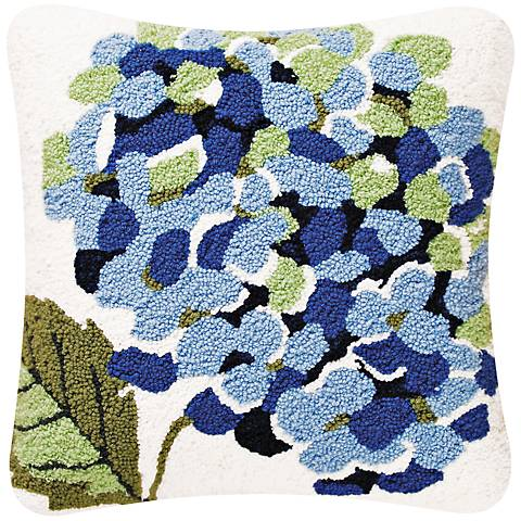 """Hydrangea 18"""" Square Floral Throw Pillow"""