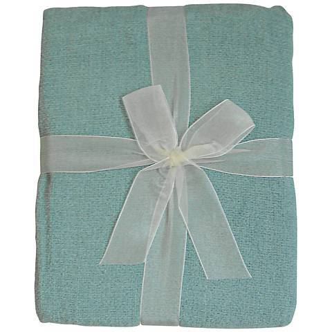 Light Blue Chenille Throw Blanket