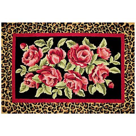 Rose 2'x3' Hooked Wool Doormat