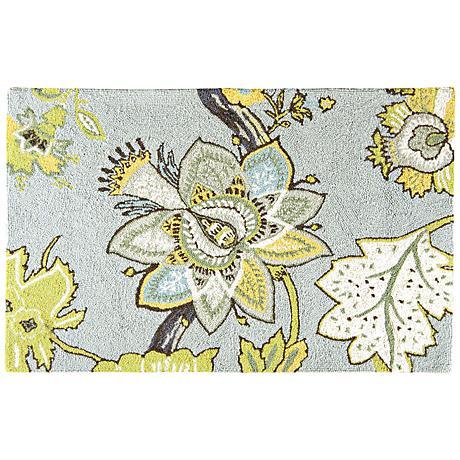 Nottingham 2'x3' Floral Hooked Wool Doormat