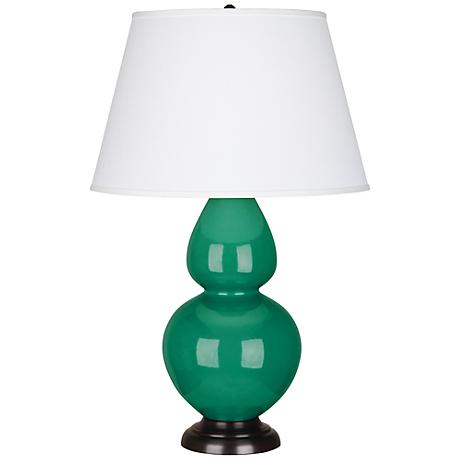 Robert Abbey Emerald Ceramic and Bronze Table Lamp