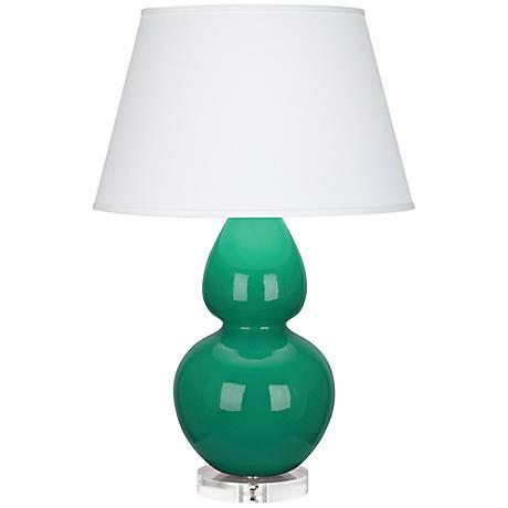 Double Gourd Emerald Ceramic Table Lamp w/ Dupioni Shade