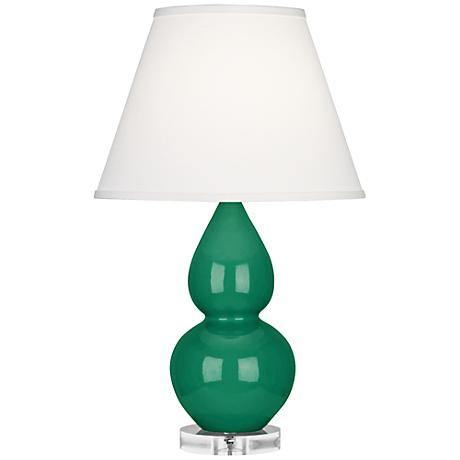 Double Gourd Emerald Ceramic Table Lamp w/ Ivory Shade