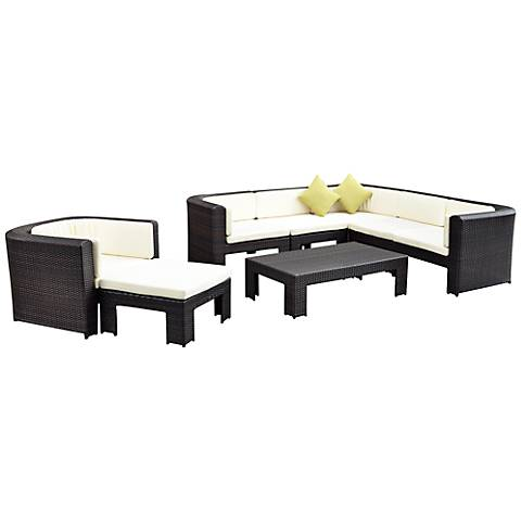 8-Piece Poolside Sofa Set Green