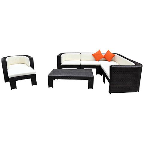 8-Piece Poolside Orange Outdoor Sofa Set