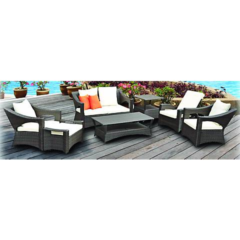7-Piece Orange Reclining Outdoor Patio Furniture Set