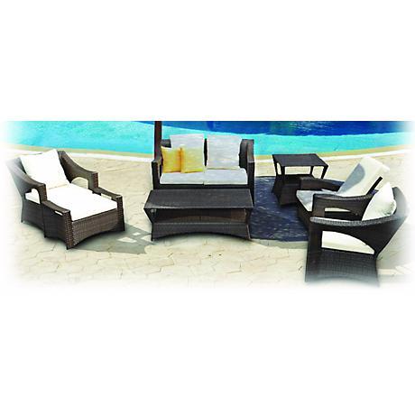 7-Piece Yellow Reclining Outdoor Patio Furniture Set