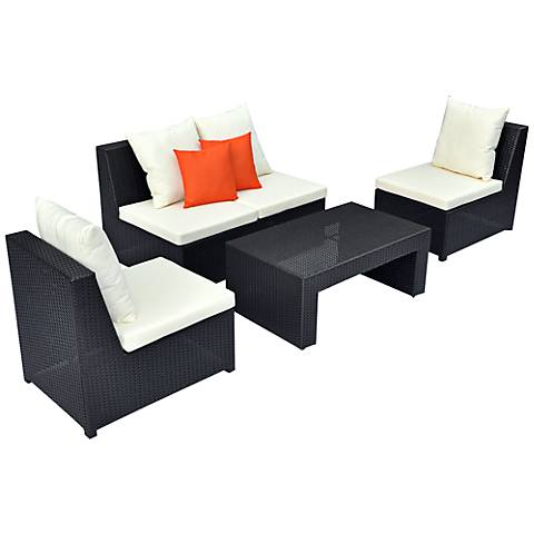 4-Piece Orange Armless Outdoor Lounge Set