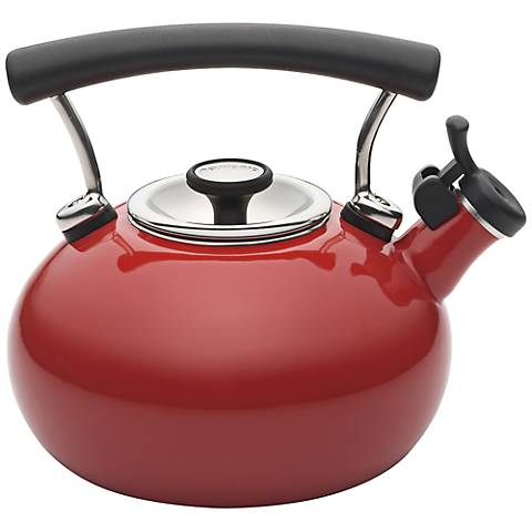 Circulon 25th Anniversary 2-Quart Red Whistling Teakettle