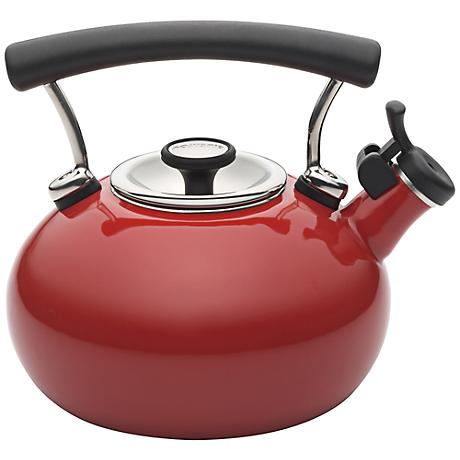Circulon 25th Anniversary 2-Quart Red Whistling Teakettle