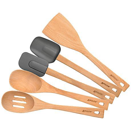 Anolon Tools Beachwood 5-Piece Tool Set