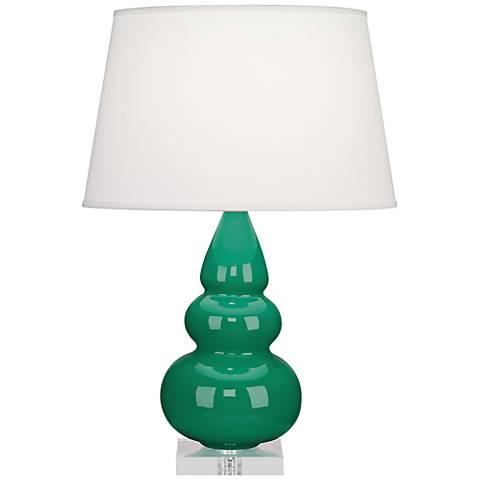 Robert Abbey Emerald Triple Gourd Ceramic Table Lamp
