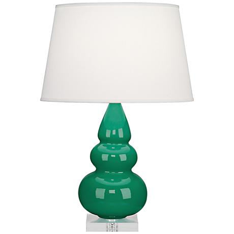 Robert Abbey Emerald Triple Gourd Ceramic Table Lamp
